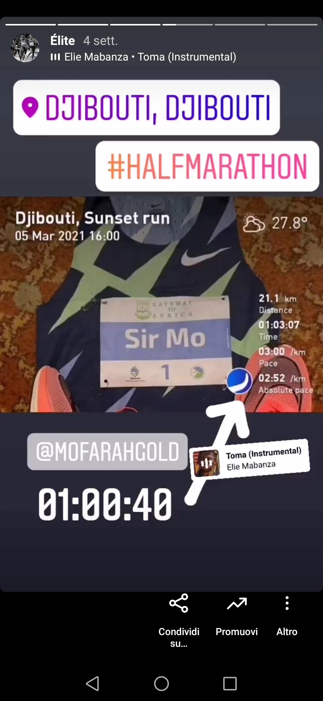 Analisi prestazione Mo Farah (dal profilo instagram runbull_app)